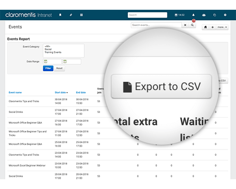 Export booking and event details to CSV file