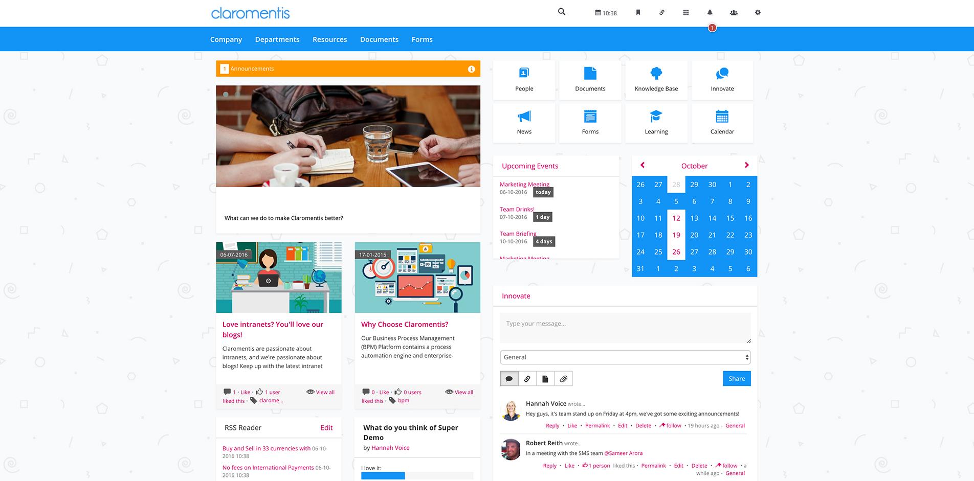 intranet design examples claromentis