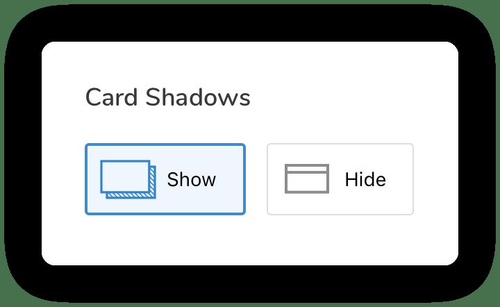 Card shadows picker