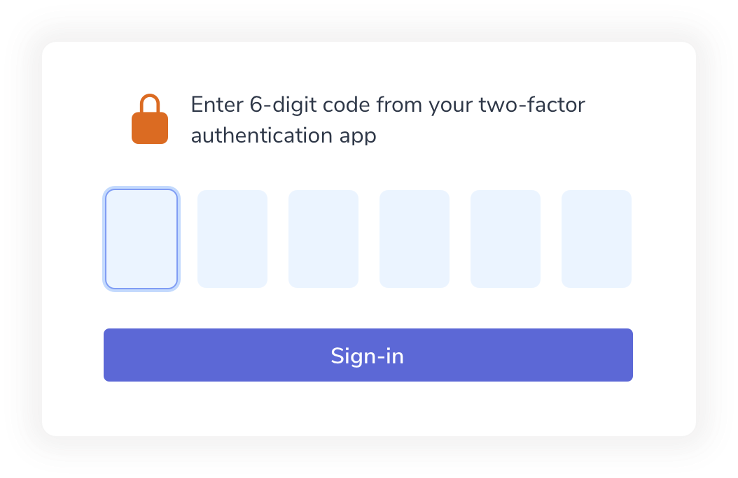 Two Factor authentication form input