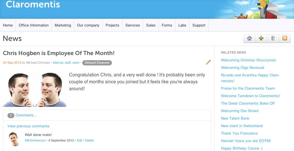 Intranet Homepage News Application