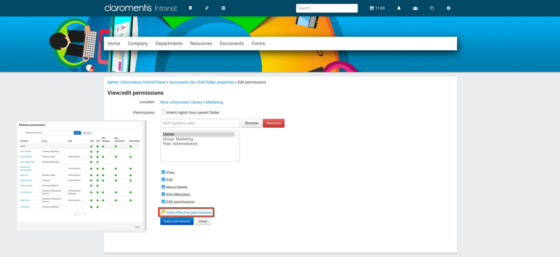 View Effective Permissions Settings in Claromentis