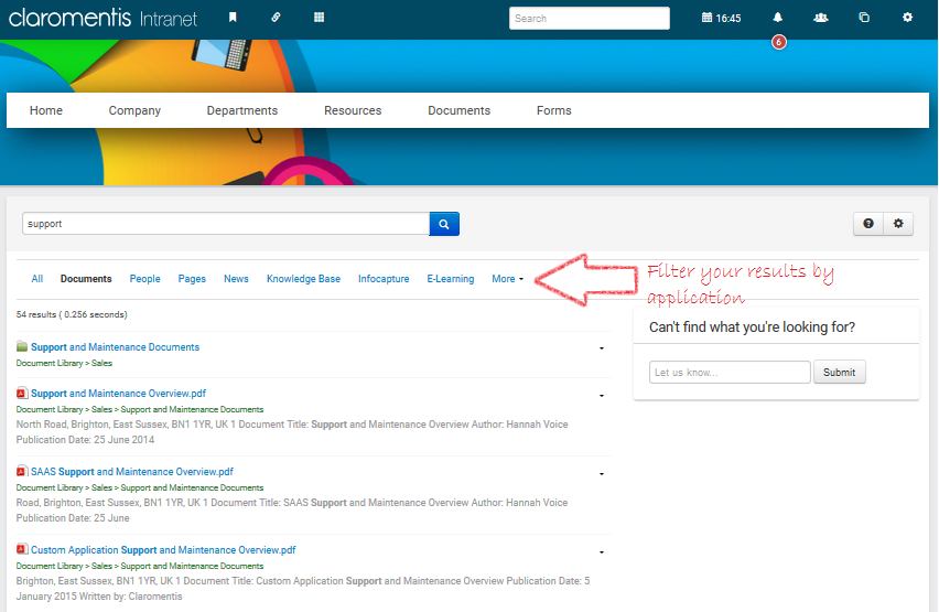 Filter Intranet Search Results in Claromentis