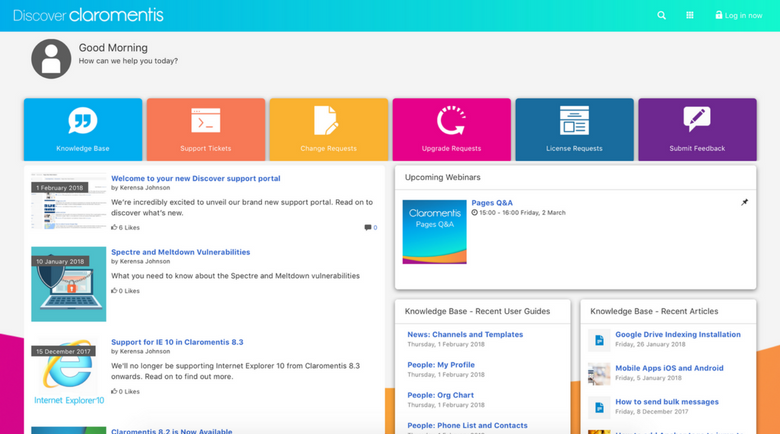 Intranet Support Portal | Claromentis