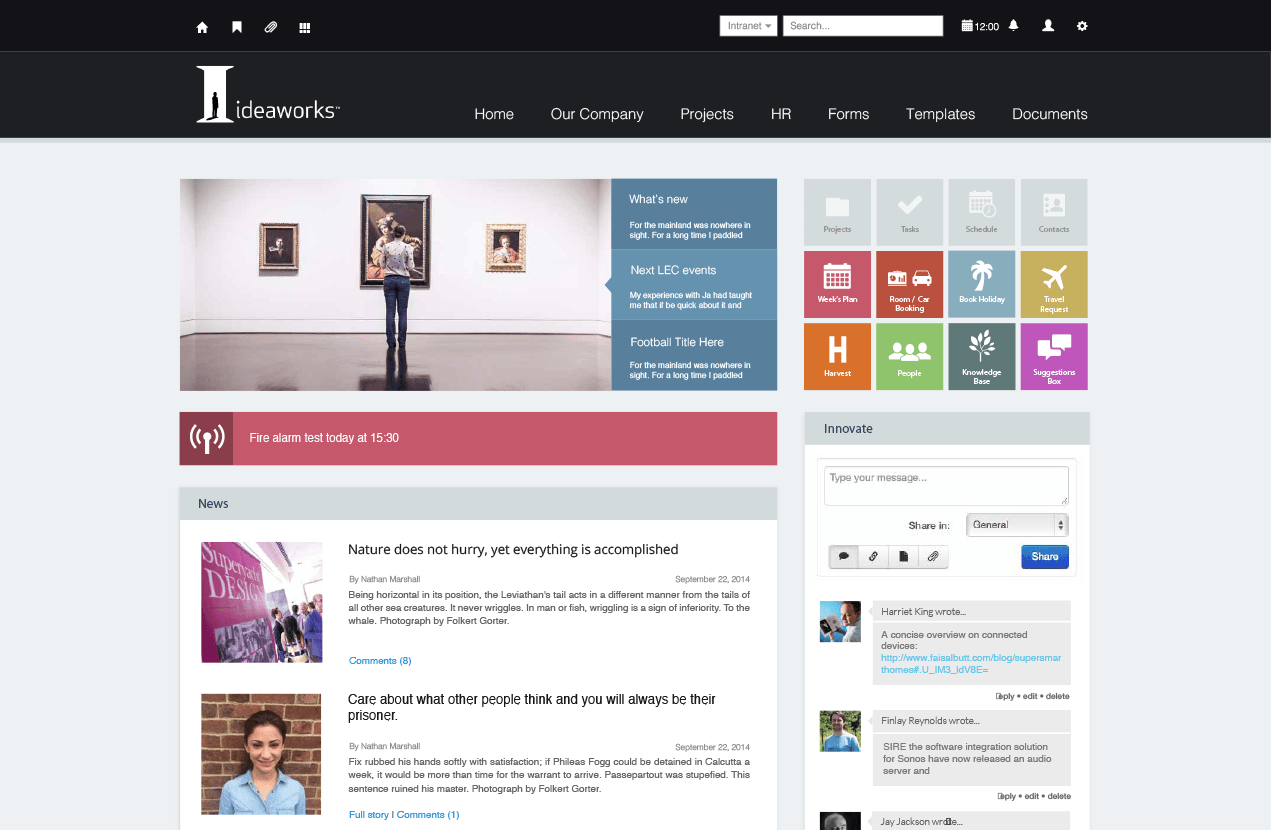 Ideaworks custom intranet design