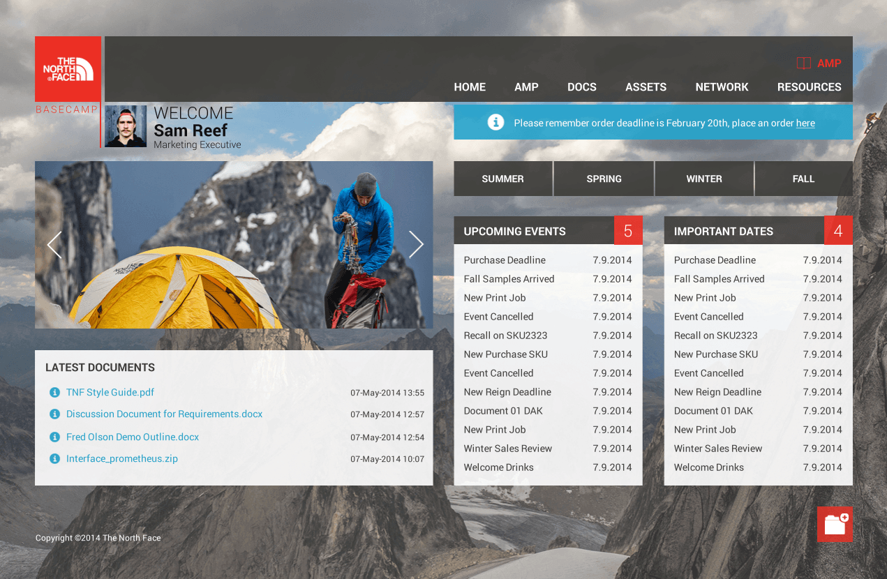 The North Face custom intranet design