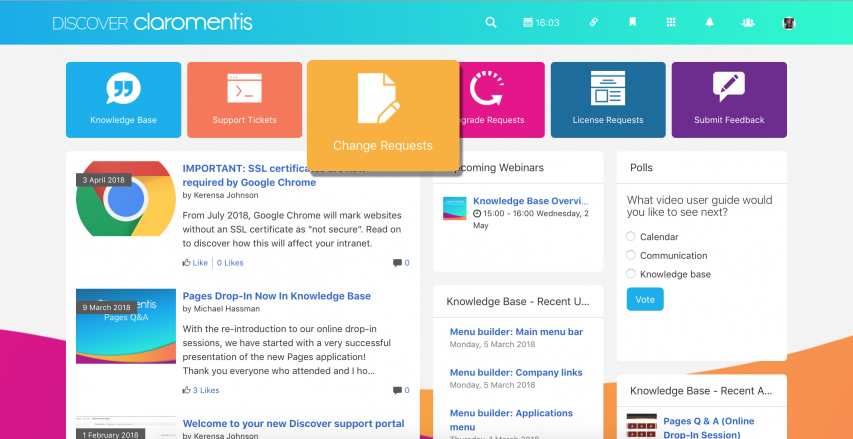 Submit Change Requests on Discover
