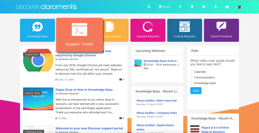 Submit Support Tickets in Discover