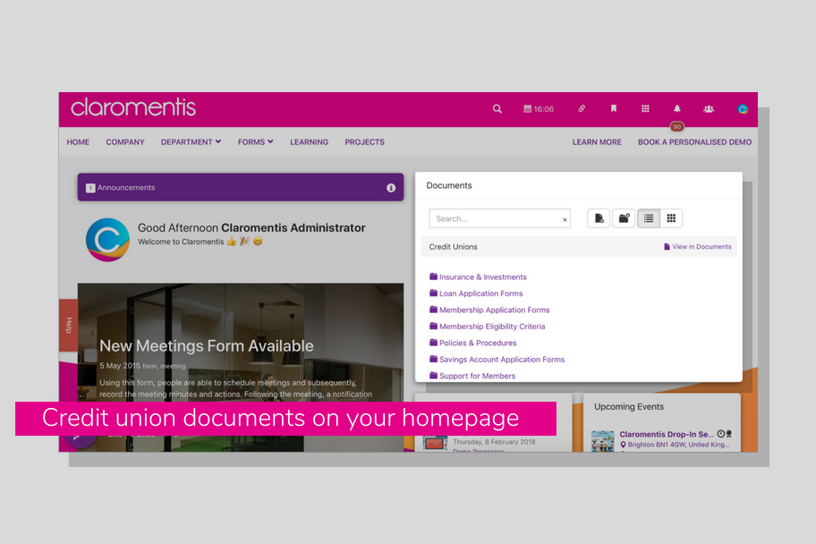 Credit union documents on your homepage | Claromentis