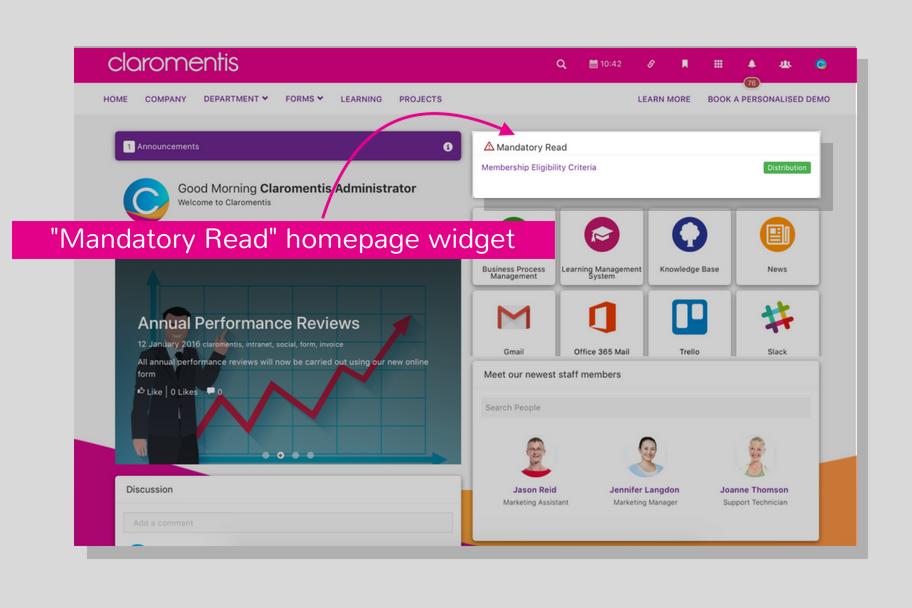 Mandatory read homepage widget | Claromentis