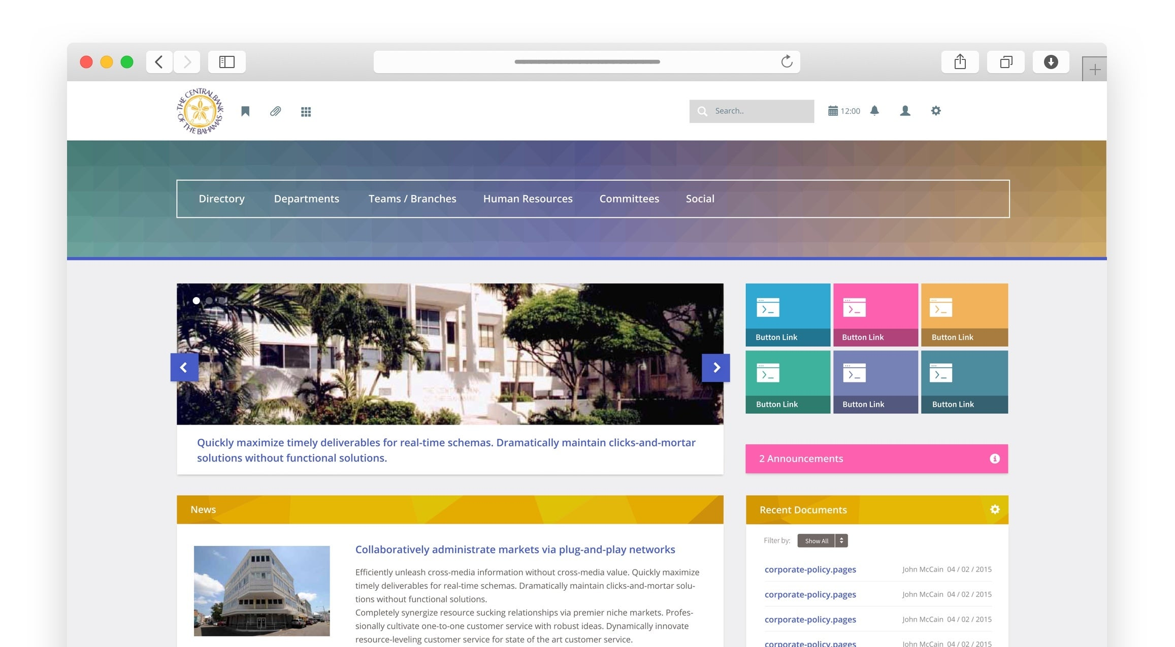 Central Bank of The Bahamas intranet landing page in a browser displaying the homepage components