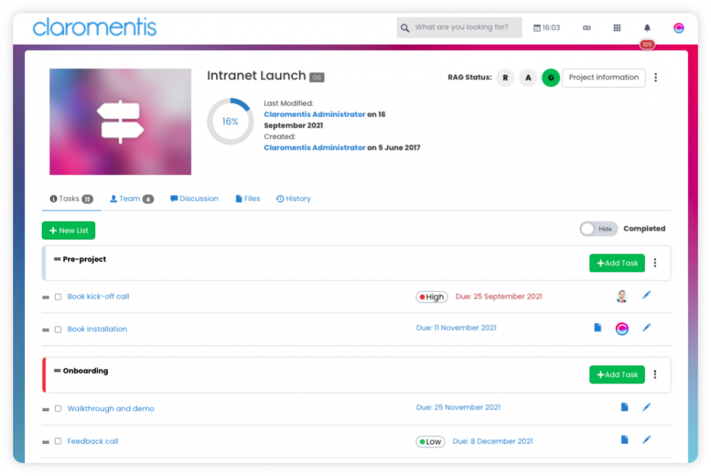 claromentis-project-management-software-dashboard