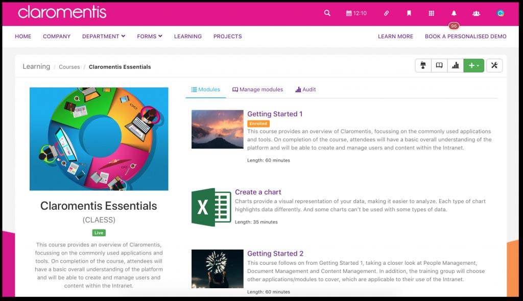 Claromentis e-learning application