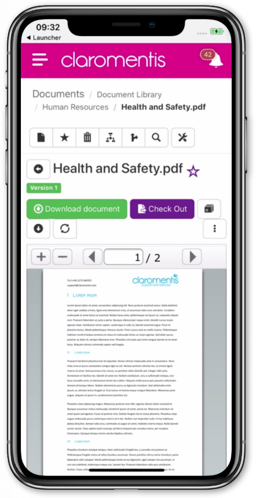 Claromentis mobile document management