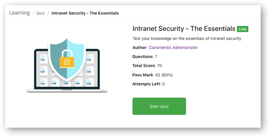 Intranet security quiz | Claromentis