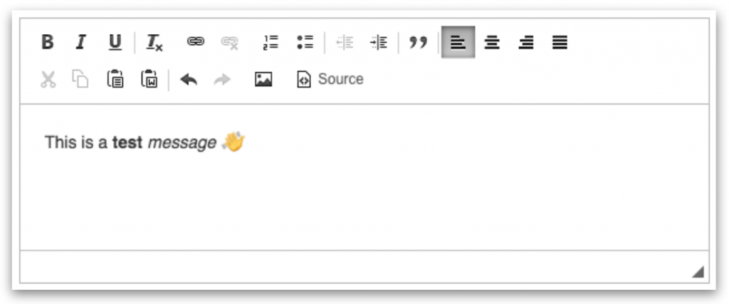 Claromentis Communication app rich-text editor