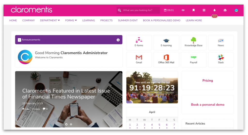Claromentis homepage with page frame layout