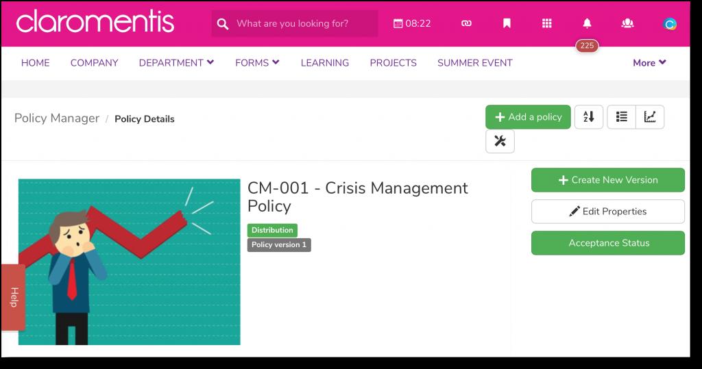 Crisis management policy | Claromentis