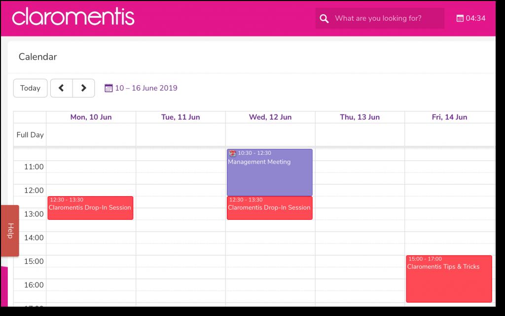 Claromentis training calendar