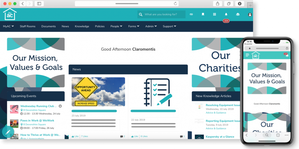 Apprenticeship Connect intranet homepage | Claromentis