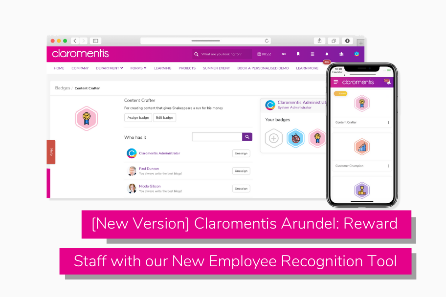 [New Version] Claromentis Arundel_ Reward Staff with our New Employee Recognition Tool