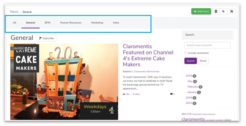 News navigation | Claromentis