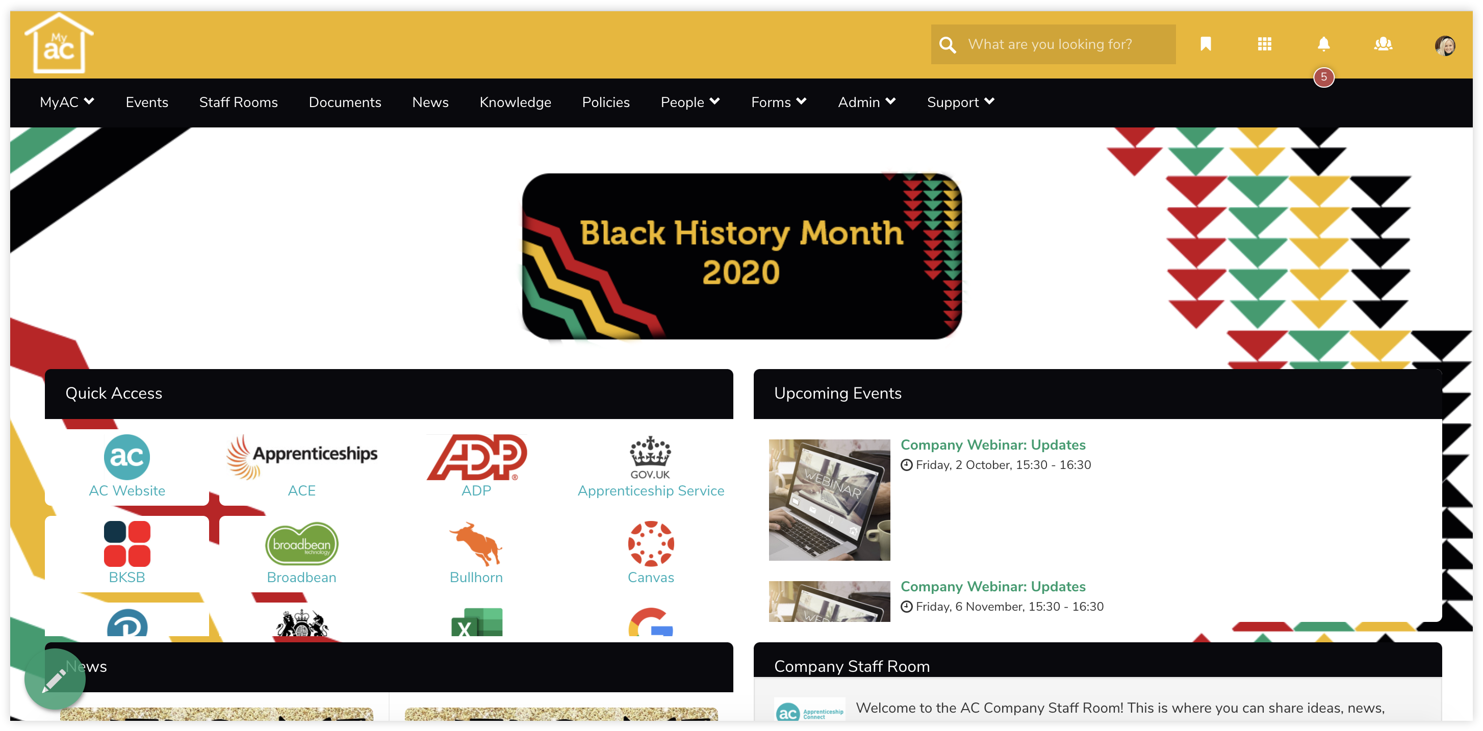 intranet-homepage-black-history-month-theme