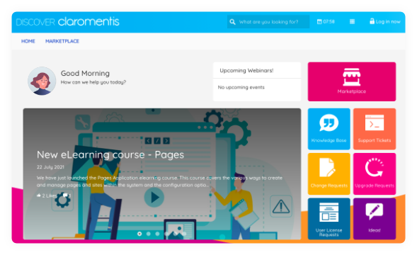 claromentis-discover-support-portal-homepage